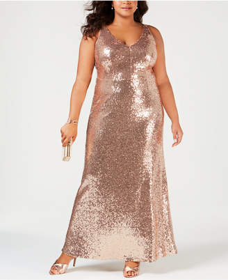 Night Way Nightway Plus Size Sequined Evening Gown