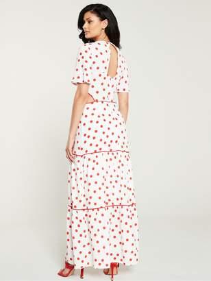 Warehouse Spot Tiered Maxi Dress - Multi