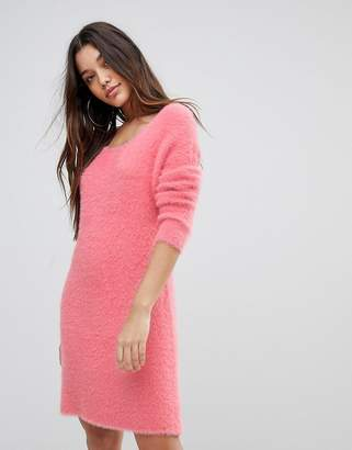 PrettyLittleThing Fluffy Crew Neck Jumper Dress