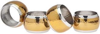 Godinger Hammered Brass Set Of 4 Napkin Ring Holders