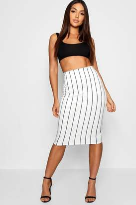 boohoo Pinstripe Midi Skirt