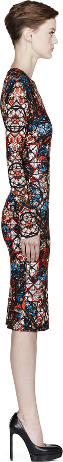 Alexander McQueen Red Multicolor Stained Glass Print Dress