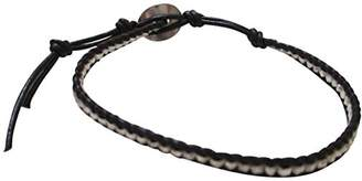 Chan Luu Single Black Leather with Silver Nuggets Wrap Bracelet