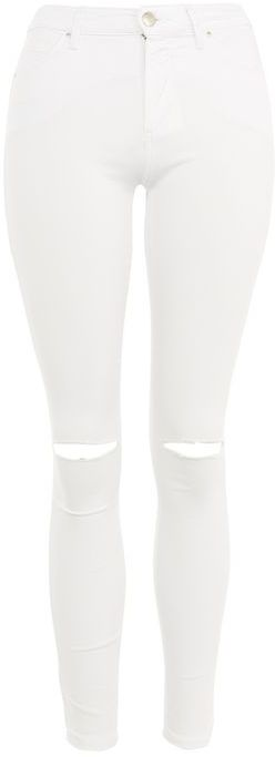 Topshop Topshop Moto white ripped leigh jeans