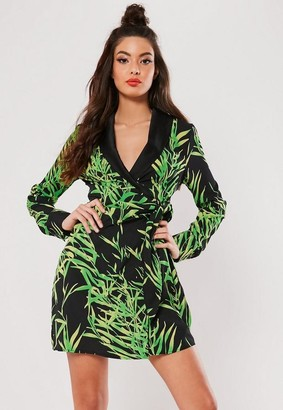 40ec2d88d7c45 Missguided Tall Black Palm Print Wrap Blazer Dress