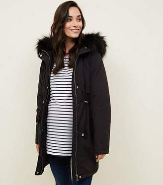 New Look Maternity Black Faux Fur Trim Hooded Parka