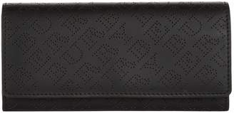 Burberry Leather Perforated Logo Continental Wallet