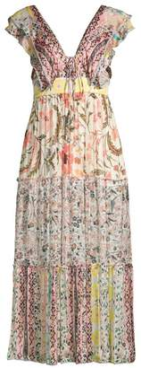 HEMANT AND NANDITA Short-Sleeve Floral Maxi Dress