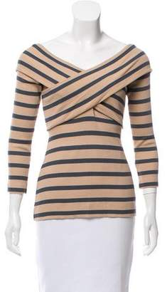 L'Agence Striped Crossover Top
