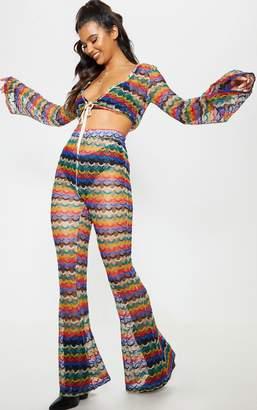 PrettyLittleThing Multi Chevron Knitted Flare Trouser