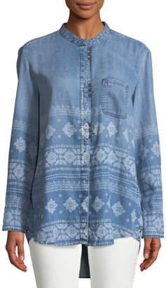 Jachs Jach's Girlfriend Medallion-Print Chambray Blouse