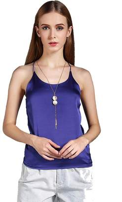 Colyanda Women's Sexy Round Neck Silk Camisole Tank Top (,2XL)