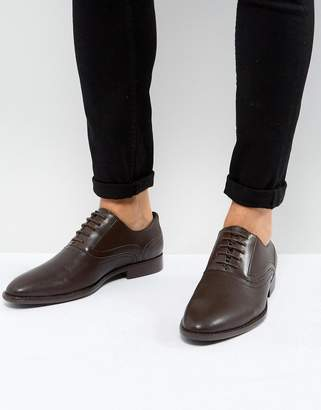 Asos DESIGN Oxford Shoes In Brown Faux Leather With Emboss Detail
