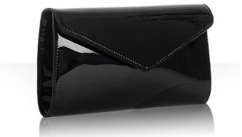 Yves Saint Laurent black patent leather 'Y-Mail' clutch