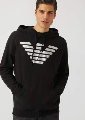 Emporio Armani Hooded Sweater With Metallic Eagle