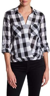 ELEVENPARIS Checkered Surplice Shirt $120 thestylecure.com