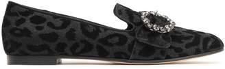 Dolce & Gabbana Crystal-embellished Glittered Flocked Loafers