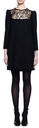 Alexander McQueen Long-Sleeve Lace-Inset Shift Dress, Black $1,775 thestylecure.com