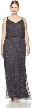Adrianna Papell Women's Plus Size Long Beaded Gown
