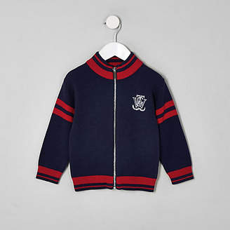 River Island Mini boys navy zip front cardigan