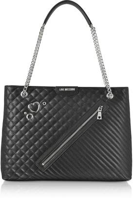 Love Moschino Black Quilted Eco Leather Tote Bag