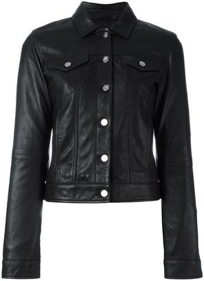 Calvin Klein Jeans buttoned leather jacket $606.37 thestylecure.com