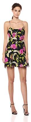 Milly Women's Large Calla Lily Printed on Chiffon Alanis Mini Dress