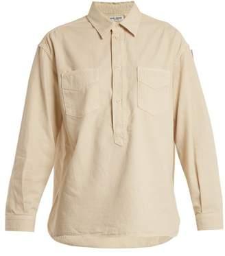 Saint Laurent - Point Collar Half Button Denim Shirt - Womens - Ivory