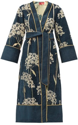 F.R.S For Restless Sleepers F.R.S – For Restless Sleepers Nomos Floral Jacquard Chenille Evening Coat - Womens - Navy Multi