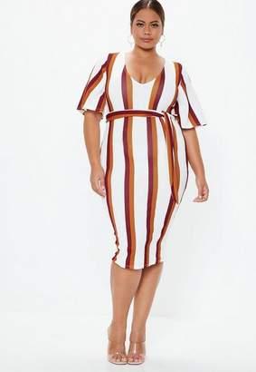Missguided Plus Size White Stripe Kimono Midi Dress
