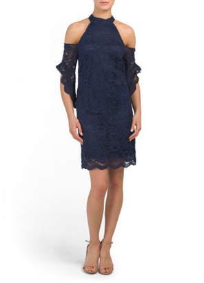 Halter Top Cold Shoulder Short Dress