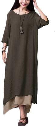 Romacci Women Cotton Linen Maxi Dress Vintage Chinese Style Loose Boho Long Dress