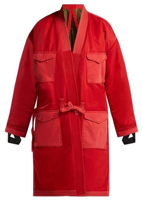 Reversible Kimono Style Padded Coat - Womens - Red