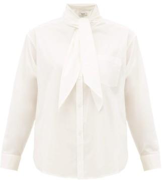Sea Louise Neck Tie Cotton Blend Poplin Blouse - Womens - White