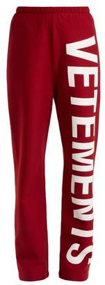Vetements Logo Print Cotton Blend Jersey Track Pants - Womens - Red