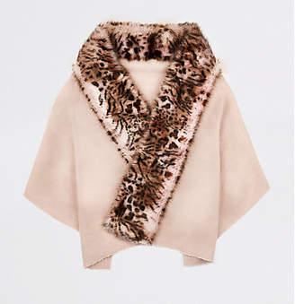 River Island Womens Pink leopard print faux fur trim scarf