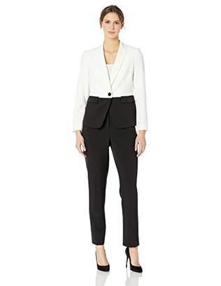 Le Suit Women's 1 Button Notch Collar Crepe Pant Suit