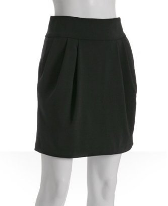 Alice & Olivia black pleated wool high waisted skirt