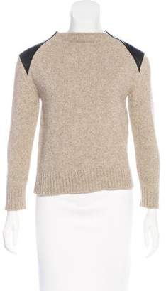 Celine Leather-Trimmed Yak-Blend Sweater w/ Tags