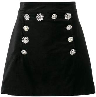 Veronica Beard jewel embellished velvet skirt