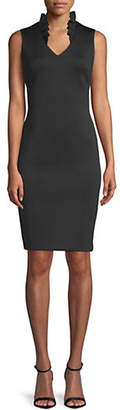 Calvin Klein Ruffle V-Neck Sleeveless Sheath Dress