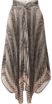 Zimmermann Corsage Snake-print Plissé-georgette Midi Skirt - Gray