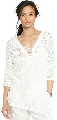Ralph Lauren Lace-Up Knit Tunic $115 thestylecure.com