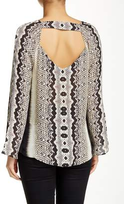 Nicole Miller Open-Back Printed Blouse