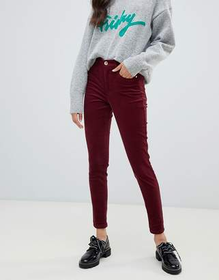 Miss Selfridge skinny cord pants in burgundy