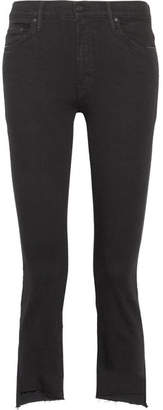 Mother - The Insider Crop High-rise Flared Jeans - Black $205 thestylecure.com