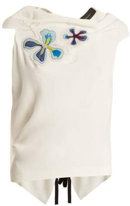 Roland Mouret Eugene Embroidered Sleeveless Top - Womens - White Multi