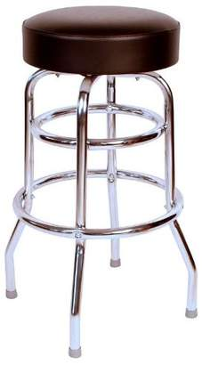 Richardson Seating 0-1952BLK Double Rung Backless Swivel Bar Stool with Chrome Frame