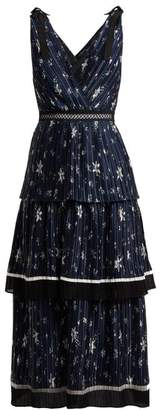 Self-Portrait Self Portrait Tiered Star Print Satin Midi Dress - Womens - Navy