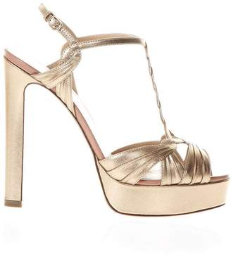 Francesco Russo Pink Gold Metal Strappy Sandals